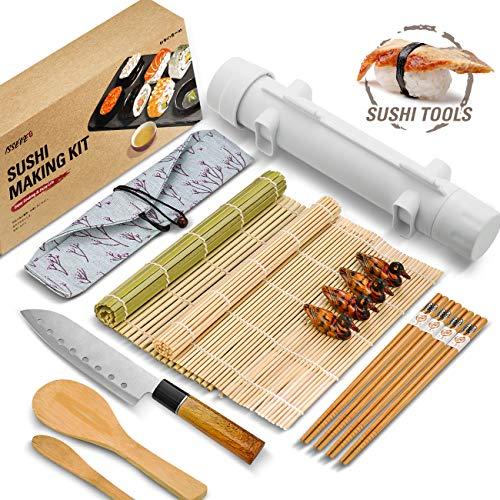 ISSEVE Sushi Making Kit, Bamboo Sushi Mat, All In One Sushi Bazooka Maker with Bamboo Mats, Bamboo Chopsticks, Paddle, Spreader, Sushi Knife, Chopsticks Holder, Cotton Bag, DIY Sushi Roller Machine