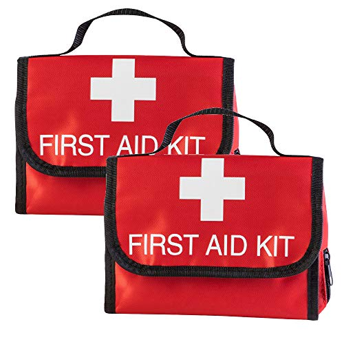 2 Pack Small Red First Aid Bag Empty Travel First Aid Kit Bags Pouch Compact Rescue Storage Survival Medicine Bags Only for Car Travel Home Office Kitchen Ourdoors Businesses Camping (Empty Bag)