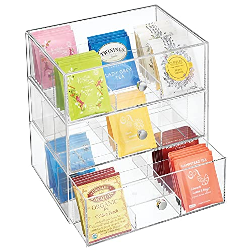 mDesign Plastic Kitchen Pantry, Cabinet, Countertop Organizer Storage with 3 Drawers for Coffee, Tea, Sugar Packets, Sweeteners, Creamers, Drink Pods, Packets - 27 Sections - Clear