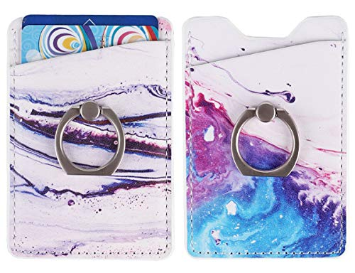 2Pack Adhesive Phone Pocket,Cell Phone Stick On Card Wallet Sleeve,Credit Cards/ID Card Holder with 3M Sticker for Back of iPhone,Android and All Smartphones (Sand Marble Purple with Ring)