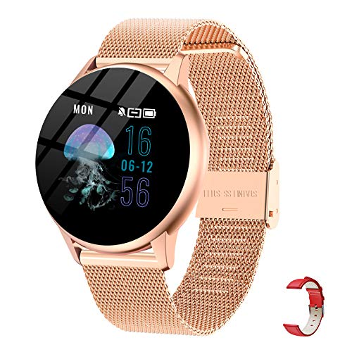 Smart Watch for Women,iQuark Smart Watch for Android Phones and iOS Phones Compatible iPhone Samsung,IP67 Waterproof Smartwatch Fitness Tracker with Heart Rate Monitor and Blood Pressure(Rose Gold)
