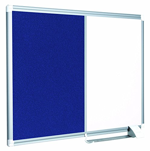 MasterVision Combination Board, Magnetic Dry Erase Whiteboard and Blue Felt Bulletin Board, 18' x 24', with Aluminum Frame and Pen Tray
