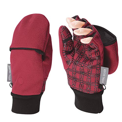Vital Salveo- Outdoor 3WARM Unisex Half Finger Gloves Windproof Non Slip Fingerless Fleece Gloves (Wind Red, Large)