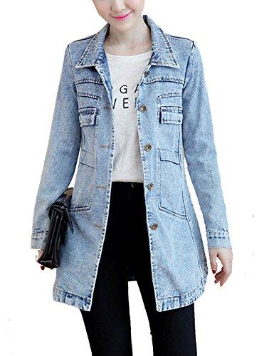 Yeokou Women's Casual Slim Fit Mid Long Button Down Jean Denim Jacket Coat Tops (Large, Light Blue)