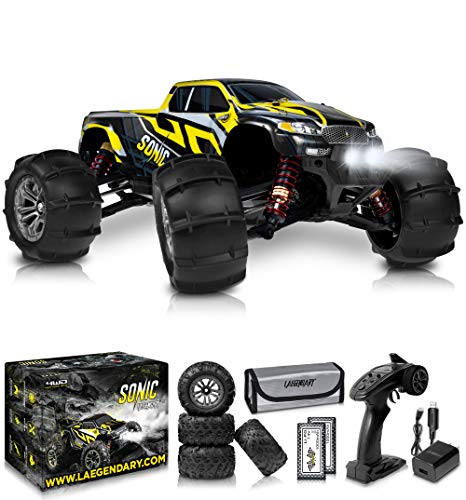 1:16 Brushless Large RC Cars 55+ kmh Speed - Kids and Adults Remote Control Car 4x4 Off Road Monster Truck Electric - Hobby Grade Waterproof Toys Trucks for Boys, Girls - 2 Batteries for 40+ Min Play