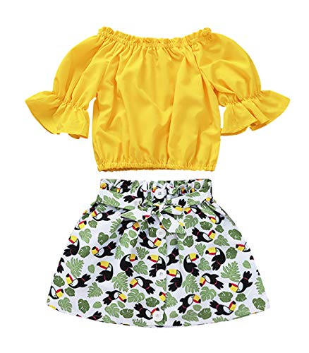 MetCuento 2 Pcs Toddler Girls Clothes Ruffle Sleeve Off Shoulder Short Shirt Playwear Photography Kids Summer Outfits Sets Yellow 5T Age 4-5 Years