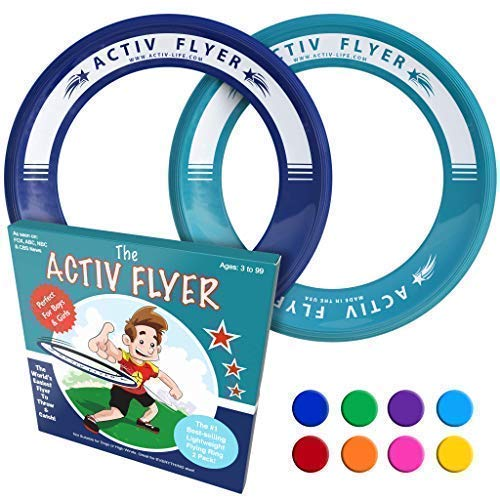 Activ Life Best Kid's Flying Rings [Navy/Teal] 2 Pack - Best for Grandson & Granddaughter Toys Young Niece Teen Nephew Gifts or Holiday Presents - Top Xmas 2020 and Fun Ideas for Child of Any Age
