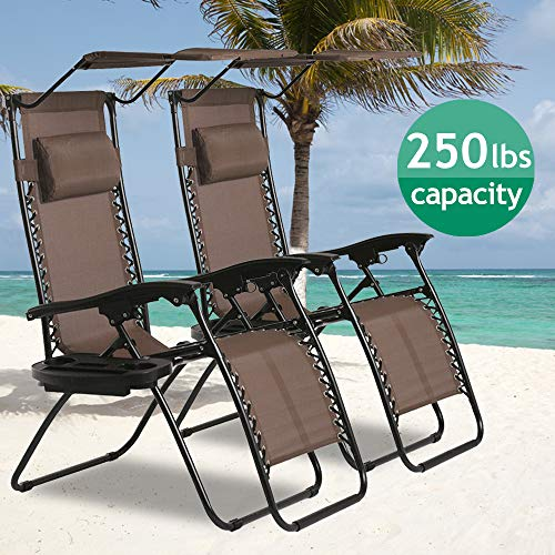 Zero Gravity Chair, Outdoor Folding Adjustable Lounge Chair Chaise 250LBS Weight Capacity Recliner Chairs with Cup Holder and Canopy Shade for Patio, Pool, Beach, Lawn, Deck, Yard - Set of 2 - Brown