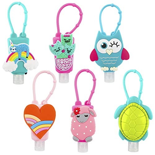 Biubee 6 Sets Cartoon Silicone Hand Cleaner Holders Empty Travel Keychain Carriers with Hand Refillable Bottles Mini Detachable Kids Portable Plastic Leakproof Liquid Soap Bottles for Travel Daily Use