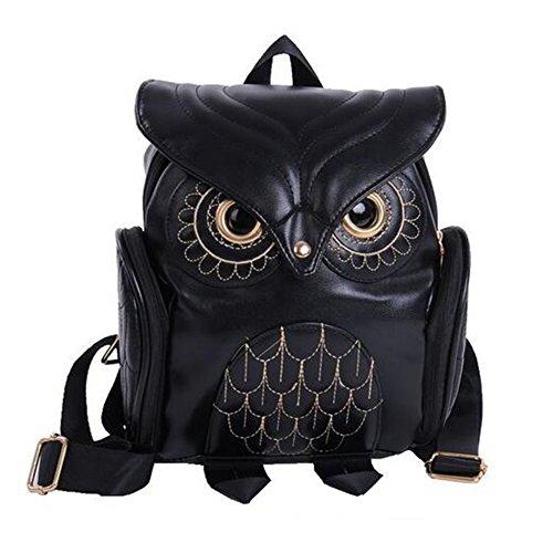 Womens Fashion Owl Backpack Girl's PU Leather Mini Daypacks(Black)