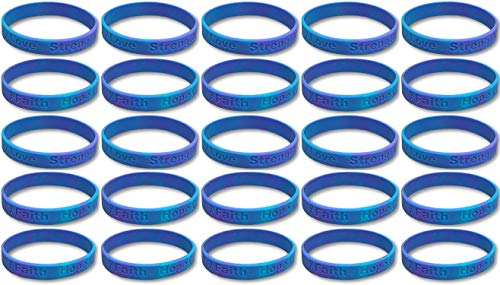 25 Sexual Assault Teal and Purple Silicone Awareness Bracelets - Medical Grade Silicone - Latex and Toxin Free (25 High Quality Bracelets)