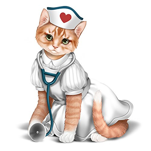 The Hamilton Collection Nurse Cat Handcrafted Collectible Figurine with Hand Painted Nurse Uniform