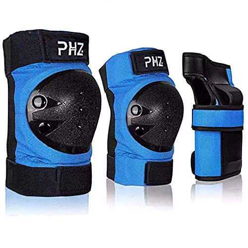 PHZ. Kids/Adults 3 in 1 Skateboard Protective Gear Set Knee Pads Elbow Pads Wrist Guards for Rollerblading Skateboard Cycling Skating Bike Scooter (Blue, Large)