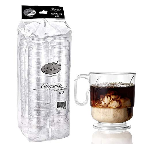 Lillian Signature Collection 40 Count Elegance Coffee Mug, 8-Ounce, Clear