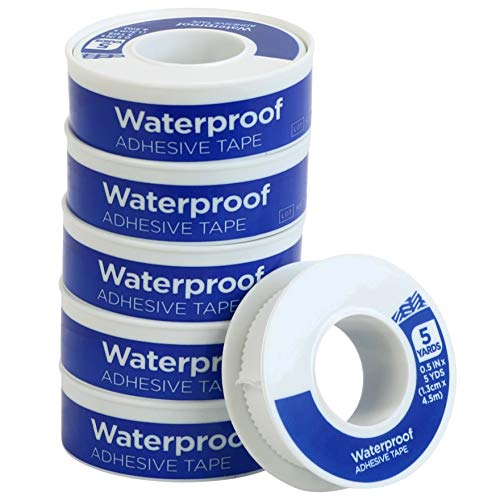 Iconikal First Aid Waterproof Adhesive Tape, 0.5 inch x 5 Yards, White, 6-Pack