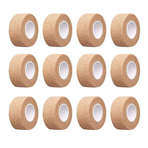 12pc-1 Inch Wide Skin Colour Elastic Self- Adhesive Bandage Finger Tape,First Aid Wrap Bandages, for Wrist and Ankle Sprains & Swelling
