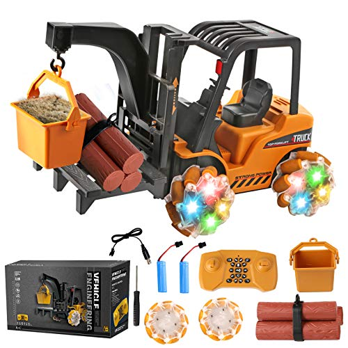 Remote Control Forklift Toy for Boys - 1:18 Scale RC Cars for Kids, 4WD RC Trucks Vehicles with Lights, Music, 360 Rotation, Programming, RC Crawler Drift Toy Cars for Boys, Girls, Teens, Adults, Gift