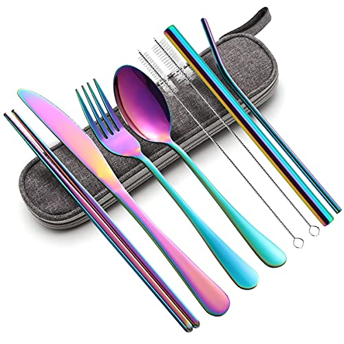 Portable Utensils Set,Reusable Travel Cutlery Set with Case Stainless Steel Flatware Set for Camping 8pcs Including Dinner Knife Fork Spoon Chopsticks Boba Straw (Rainbow)