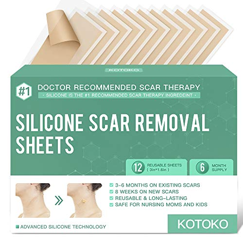 Reusable and Washable Silicone Scar Sheets-12 Sheets,Soften and Flattens Scars Resulting from Surgery,Burns,Acne, C-Section and More,Silicone Scar Removal Patch Away,3'×1.6',(6 Month Supply) (Green)
