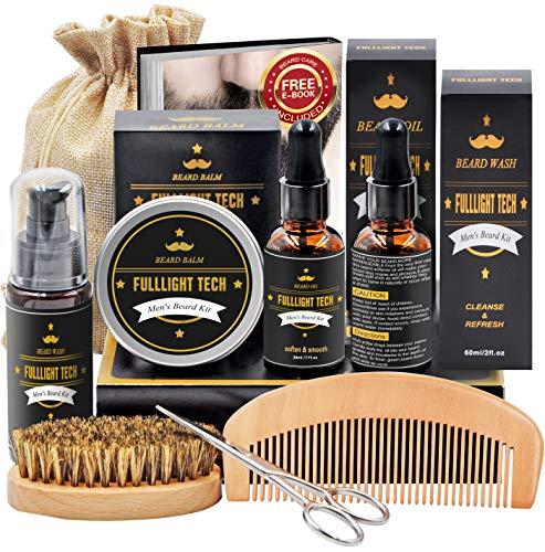 Beard Kit for Men Grooming & Care W/Beard Wash/Shampoo,2 Packs Beard Growth Oil,Beard Balm Leave-in Conditioner,Beard Comb,Beard Brush,Beard Scissor 100% Pure & Organic Beard Growth Kit