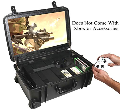 Case Club Waterproof Xbox One X/S Portable Gaming Station with Built-in 24' 1080p Monitor, Storage for Controllers, Games, and Included Speakers (Xbox & Accessories Not Included)