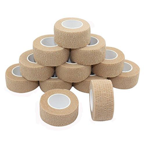 Vet Wrap Medical Tape for Skin Bandages Tape Vet Tape 1 inch x 12 Pack Skin Cohesive Bandage Fabric Self Sticking Bandage Wrap Self Adhering Bandages Waterproof Wrap Bandage Self Adhesive Tape