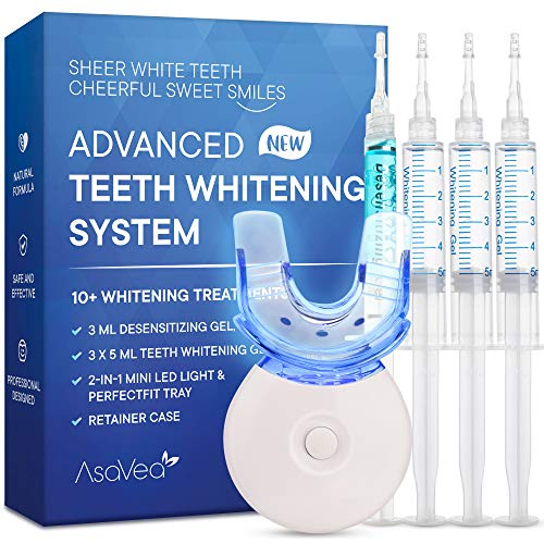 AsaVea Teeth Whitening Kit - Advanced Teeth Whitening System with LED Light, at-Home Teeth Whitening System, Effectively Removes Stains for Whiter Teeth (2020)