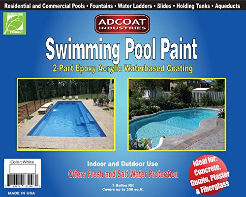 AdCoat Swimming Pool Paint, 2-Part Epoxy Acrylic Waterbased Coating, 1 Gallon Kit - White Color