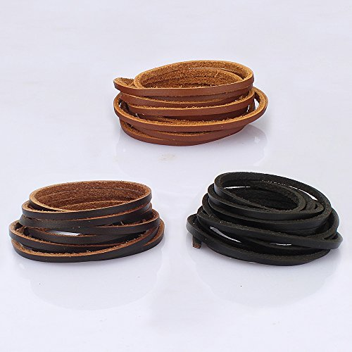 LolliBeads (TM) 3 mm Genuine Leather Cord Braiding String for Jewelry Making Craft DIY Assorted Color Dark Brown, Light Brown and Black 6 Meters (6 Yards)