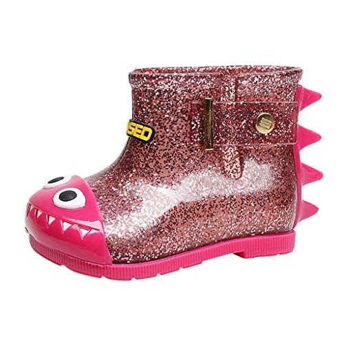 Voberry Toddler Rain Boots Children Infant Kids Baby Dinosaur Waterproof Rain Boots Booties Hot Pink