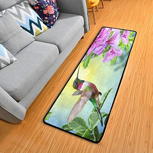 Hummingbird Pink Flowers Kitchen Rugs Non-Slip Soft Doormats Bath Carpet Floor Runner Area Rugs for Home Dining Living Room Bedroom 72' X 24'