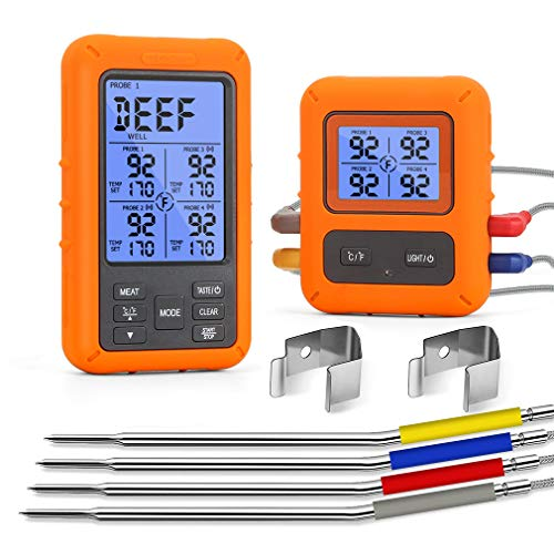 WHATOOK Wireless Meat Thermometer Remote Digital Grill Thermometer for Smokers with 4 Probes Instant Read BBQ Food Thermometer for Cooking