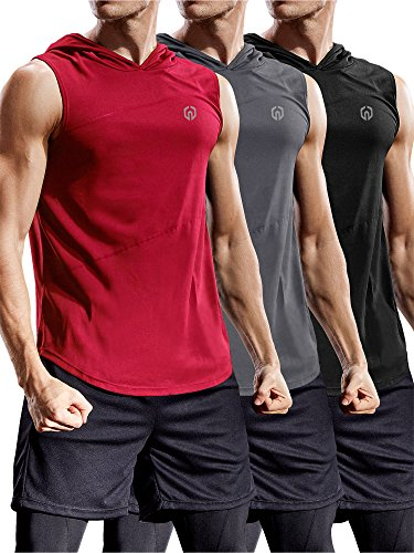 Neleus 3 Pack Workout Athletic Gym Muscle Tank Top with Hoods,5036,Black,Grey,Red,US L,EU XL