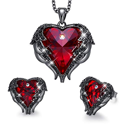 CDE Women Jewelry Set Vampire Crystals Dark Red Pendant Necklace and Studs Earrings Love Heart Pendant Angel Wing Necklace Women Mothers Day Jewelry Gift for Halloween