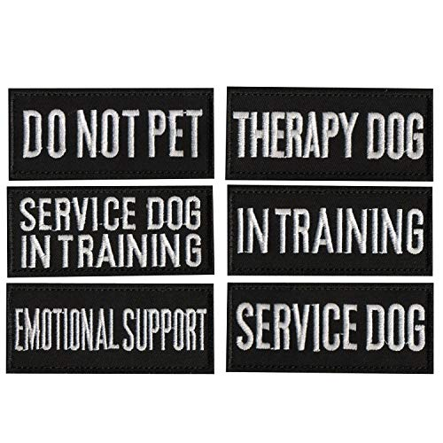 CREATOR 6 PCS Vest Patches for Dog Harness Emotional Support/Service Dog/in Training/THAREPY Dog/DO NOT PET Dog Halter Patches