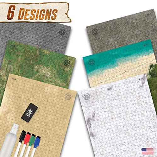 Battle Grid Game Mat - 3 Pack Double Sided 24'x36' - Portable DND RPG Table Top Role Playing Map - Dungeons and Dragons Starter Set - Tabletop Gaming Paper - Reusable Figure Board Game