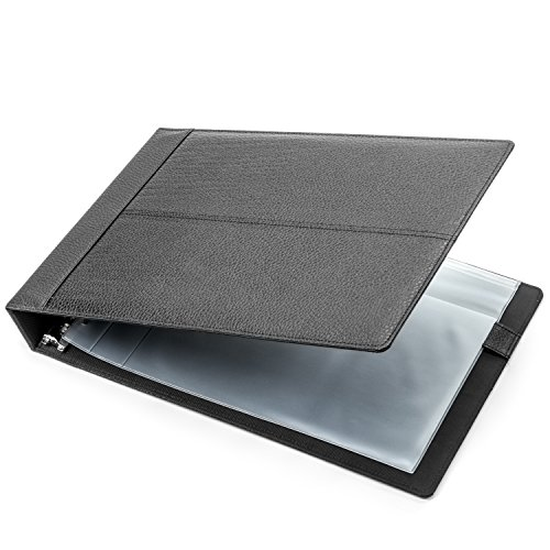 7 Ring Business Check Binder - Designed for 200 Sheets of 3 to a Page Business Checks with Ledgers, Black PU Leather Executive Stitching Design - Durable 7 D Ring Construction