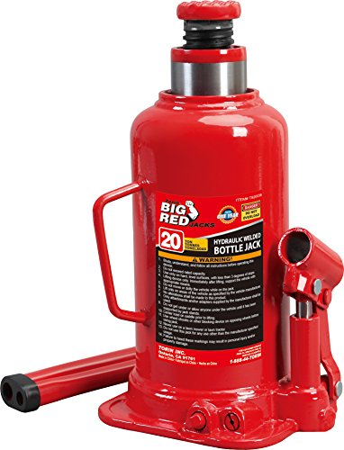 BIG RED T92003B Torin Hydraulic Welded Bottle Jack, 20 Ton (40,000 lb) Capacity, Red