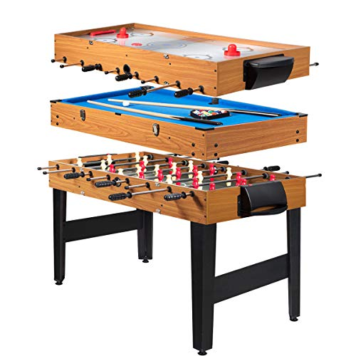 Giantex Multi Game Table, 3-in-1 48' Combo Game Table w/Soccer, Billiard, Slide Hockey, Wood Foosball Table, Perfect for Game Rooms, Arcades, Bars, Parties, Family Night