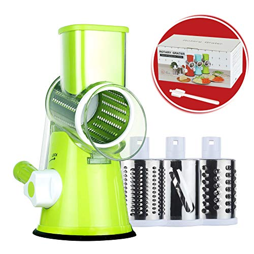 Rotary Cheese Grater Round Mandoline Slicer with 3 Interchangeable Blades, Manual Vegetable Food Shredder with Strong Suction Base by Cambom