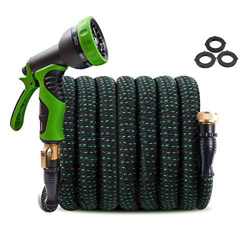 Upgraded Expandable Garden Hose 100ft Retractable Water Hose, Flexible Garden Hose, Durable 4 Layer Latex, 3/4' Solid Brass Connectors with 9 Modes Spray Nozzle, Ideal Choice for Watering and Washing