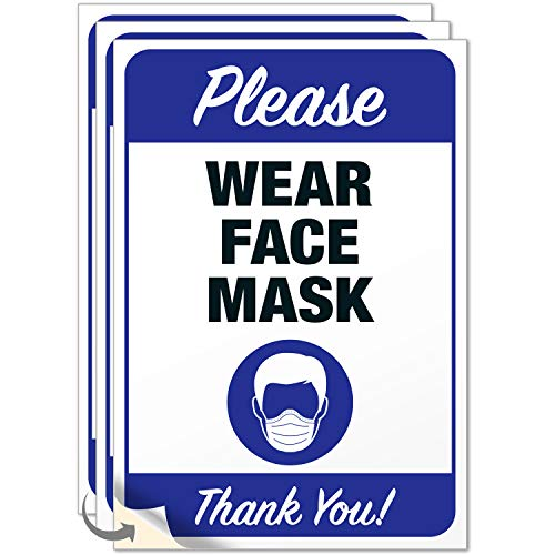 Mask Required Sign, (3 Pack) 10x7 Inches, 4 Mil Sleek Vinyl Decal Stickers Weather Resistant Long Lasting UV Protected, Made in USA by SIGO SIGNS