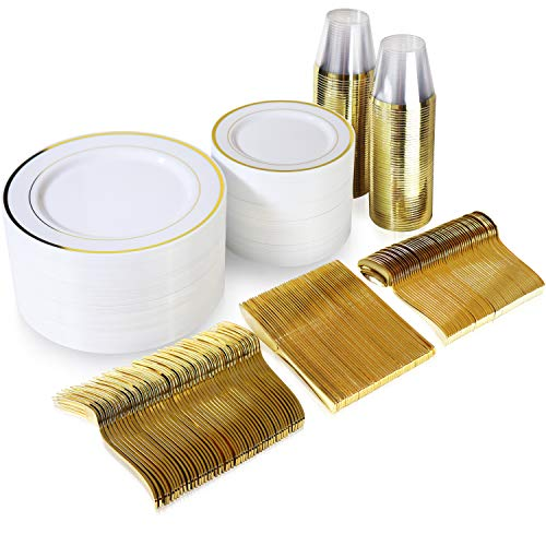 600 Piece Gold Dinnerware Set – 200 White and Gold Plastic Plates – Set of 300 Gold Plastic Silverware – 100 Gold Plastic Cups – Disposable Gold Dinnerware Set for Party or Wedding up to 100 Guests