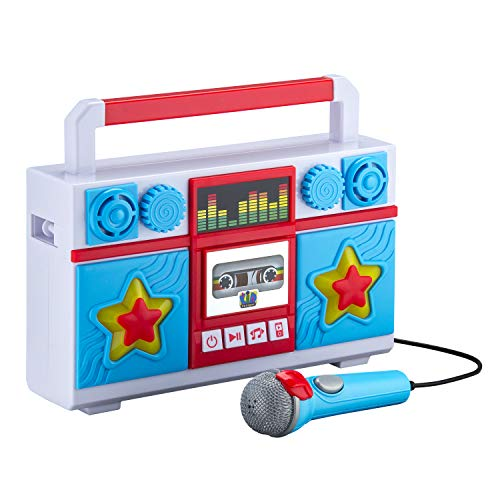 Mother Goose Club Sing Along Boombox with Microphone, Built in Music, Flashing Lights, Real Working Mic for Kids Karaoke Machine, Connects Mp3 Player Aux in Audio Device