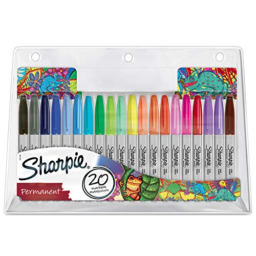 Sharpie 2061128 Fine Point Permanent Markers, Assorted, Pack of 20