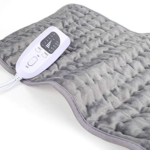 Heating Pad for Back Pain Relief, Heating Pads for Cramps Moist & Dry Heat, 6 Temperature Options for Your Comfort Need, 4 Timer Settings for Auto Shut Off,12' x 24' Calming Heat Massaging Heating Pad