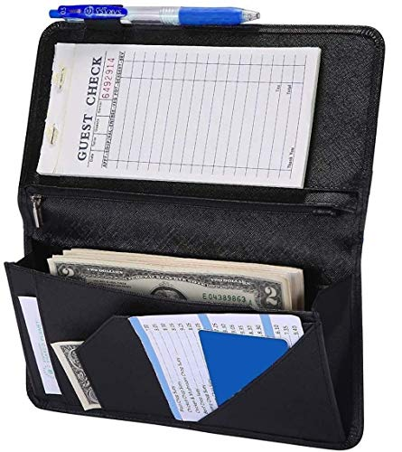4.7' X 9' Serving Book with Zipper Pocket and Magnetic Closure Server Booklet Waitress Book Server Book with Money Pocket Waitstaff Organizer Fit Server Apron Waiter Book Wallet High Volume Pocket