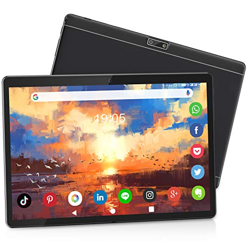 Tablet 10 Inch HD, Dual SIM/WiFi, Android 9.0 Pie Tablet, 32GB ROM/128GB Expand, Quad-Core Processor, 6000mAh Battery, Dual Camera, Bluetooth/GPS/OTG Google Certified Tablet PC【2020 Newest Black】