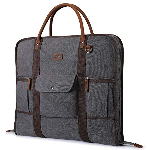 Carry On Garment Bag for Business Travel S-ZONE Canvas Leather Men Suit Cover