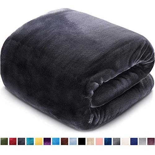 Fleece Blanket Queen Size Fuzzy Soft Plush Blanket 330GSM for All Season Spring Summer Autumn Throws for Couch Bed Sofa, 90 by 90 Inches, Dark Grey